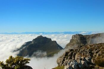 Clouds at top of Table Mountain, Cape Town, Western Cape